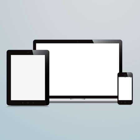 파란색 배경에 노트북 스마트 폰 및 태블릿