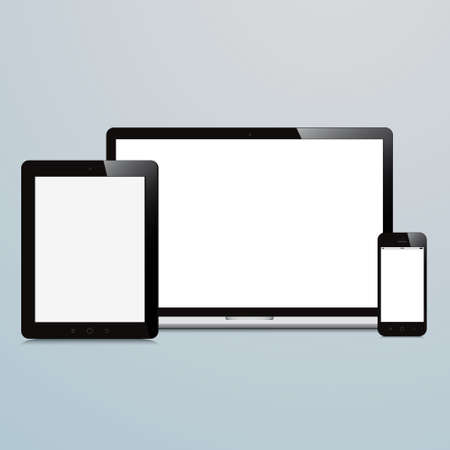 laptop smartphone and tablet on blue background Vector