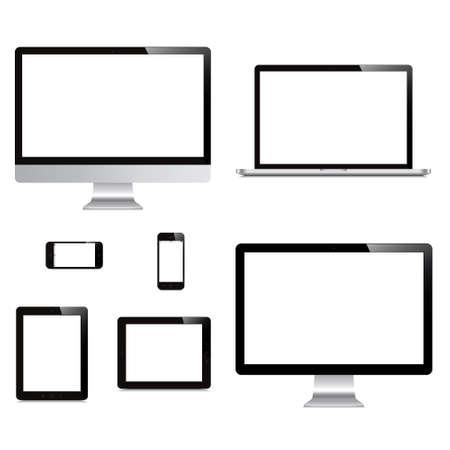 노트북, 스마트 폰, 태블릿, 컴퓨터, 디스플레이는 흰색 배경에 고립 일러스트