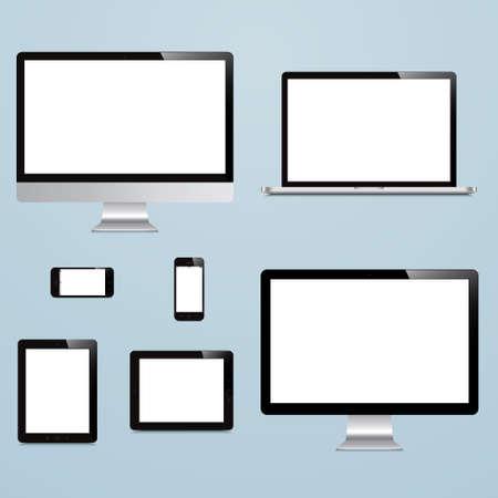 파란색 배경에 노트북, 스마트 폰, 태블릿, 컴퓨터, 디스플레이 일러스트