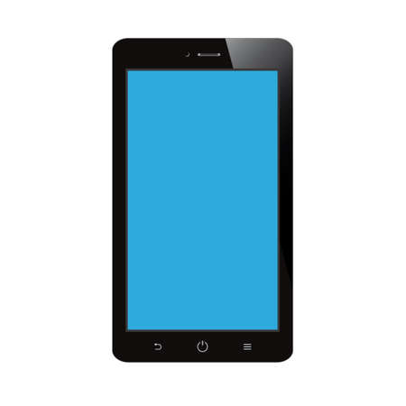 smartphone with blue blank screen on white background Vector