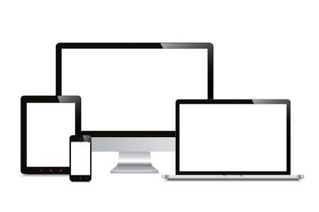 ノート パソコン、スマート フォン、タブレット、コンピューター表示分離したモックアップ白背景  イラスト・ベクター素材