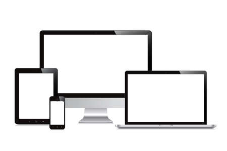 aislados portátil, smartphone, tableta, computadora, pantalla de fondo blanco maqueta Ilustración de vector