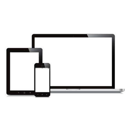 白で隔離されるラップトップのスマート フォンとタブレットのモックアップ  イラスト・ベクター素材
