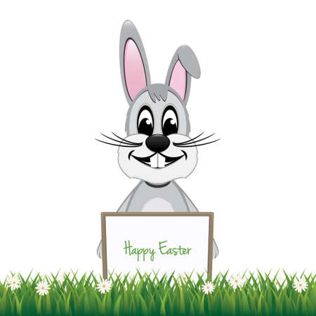 gray bunny behind board isolated background Vector