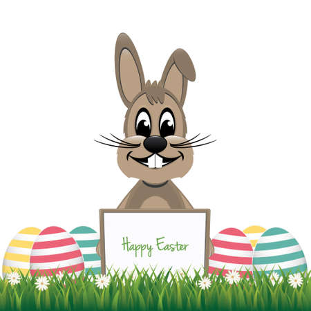 brown bunny behind board colorful eggs Vector