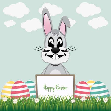 gray bunny behind board colorful eggs Vector
