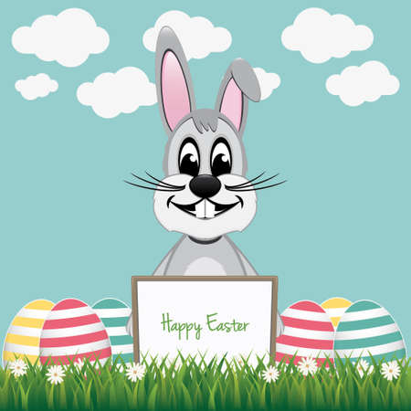 gray bunny behind board colorful eggs Vector