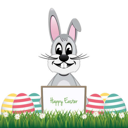 gray bunny behind board colorful eggs isolated background Vector