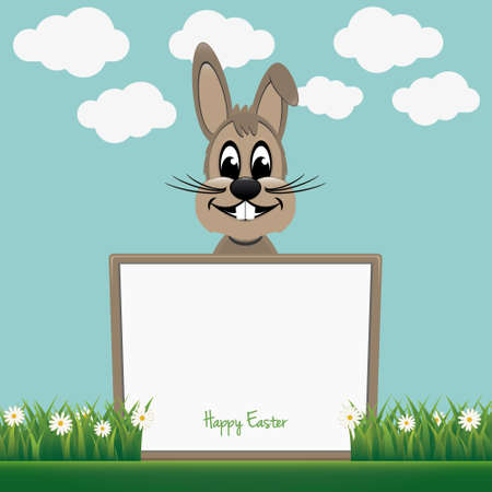 brown bunny behind board daisy meadow Vector