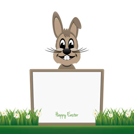 brown bunny hold board happy easter Vector