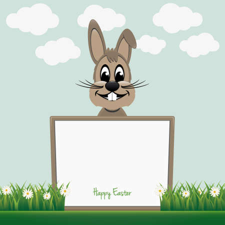 brown bunny behind board happy easter Vector