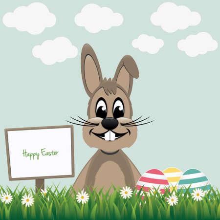 brown happy bunny sign board colorful eggs Vector