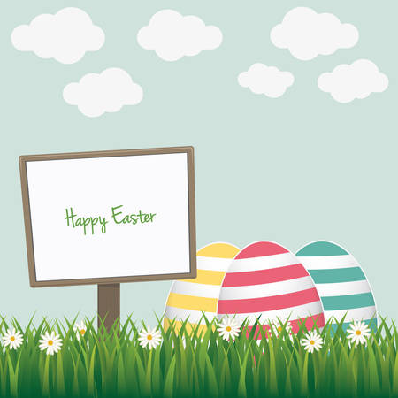 easter sign: happy easter sign colorful eggs daisy meadow
