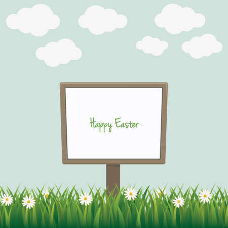 easter sign: happy easter sign board daisy meadow