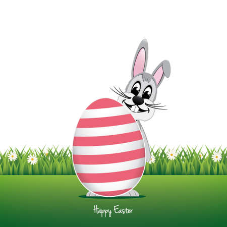 happy bunny behind big egg daisy meadow isolated Vector