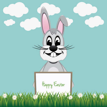 gray bunny hold happy easter board Vector