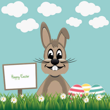 brown happy bunny with sign board and colorful eggs Vector