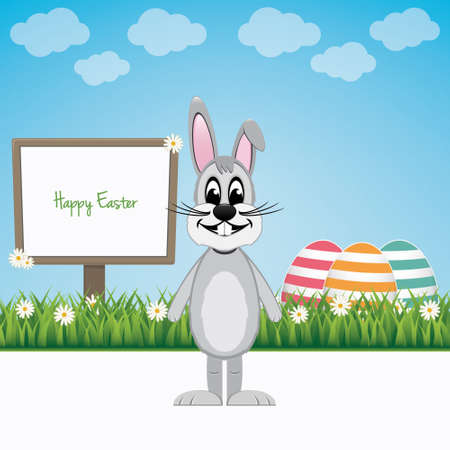happy easter bunny with sign board and colorful eggs Vector