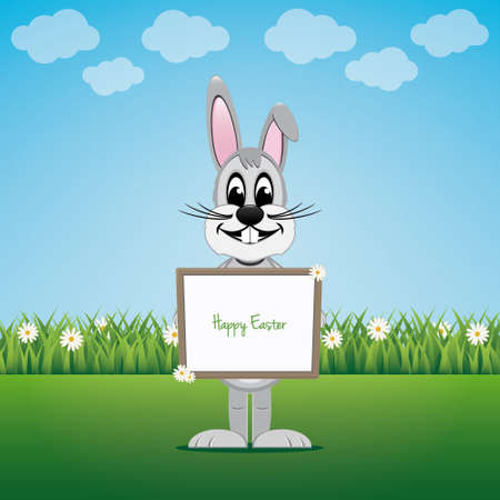 bunny hold sign on daisy lawn happy easter Vector