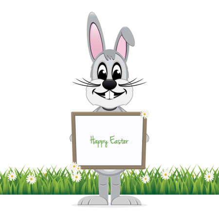 easter sign: gray bunny hold happy easter sign board isolated