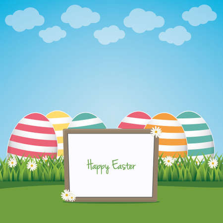 sign board happy easter colorful eggs lawn landscape Vector