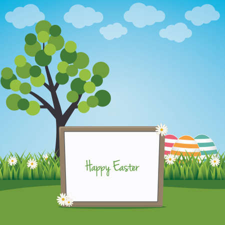 happy easter sign board on spring landscape Vector