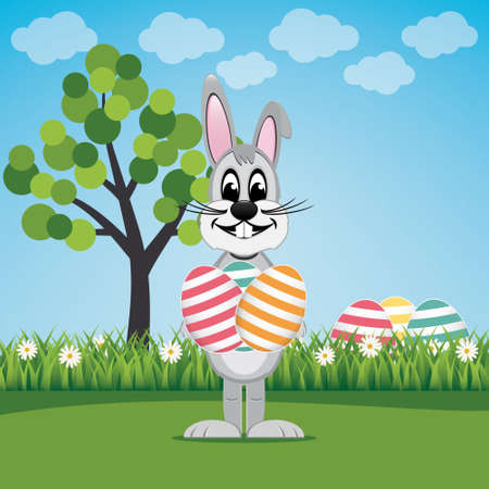 bunny hold eggs on lawn spring landscape Vector