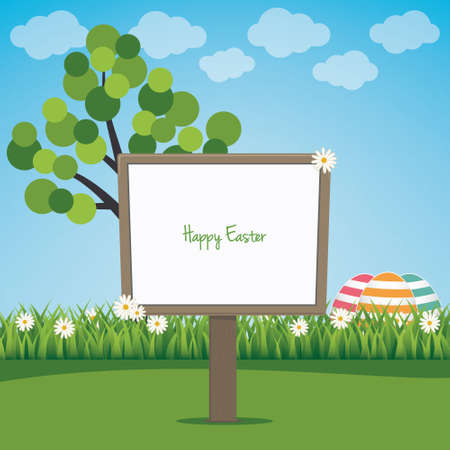 sign board happy easter colorful eggs spring landscape Vector