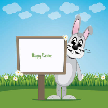 bunny behind sign on spring lawn landscape Vector