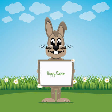 bunny hold sign on spring lawn happy easter Vector