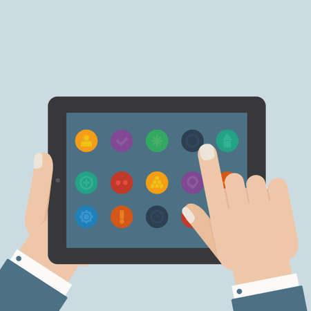 touch screen hand: flat tablet apps touch Illustration