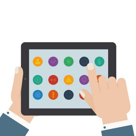 flat tablet app touch Illustration