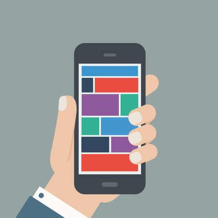 hand holding phone: hand holding phone flat design Illustration