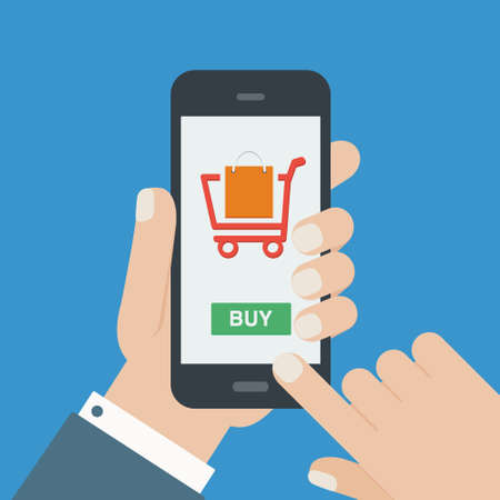online payment: mobile shopping but flat design
