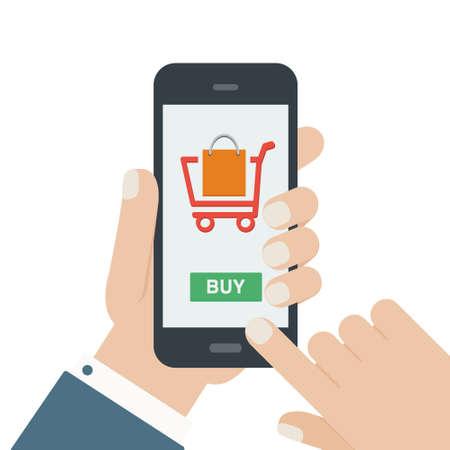 mobiel winkelen maar plat ontwerp geïsoleerde achtergrond