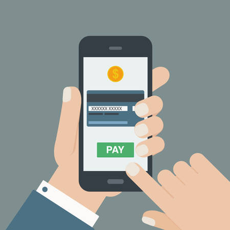 holding business card: mobile payment hand holding phone flat