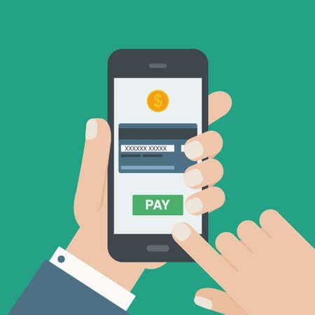 mobiel betalen credit card hand holding telefoon plat Stock Illustratie