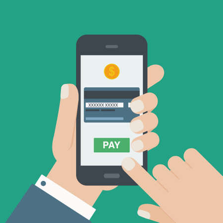 card payment: mobile payment credit card hand holding phone flat