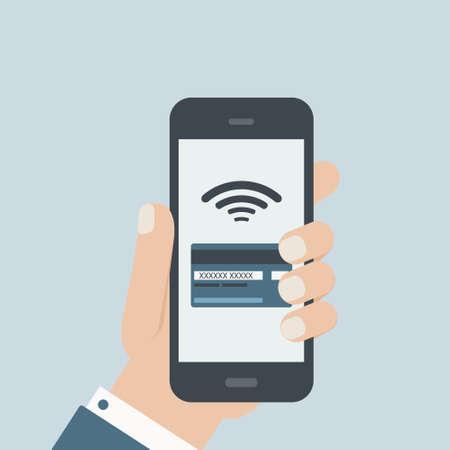 携帯電話のクレジット カード支払いの手電話フラットなデザイン