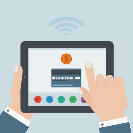 hand business card: credit card mobile payment hand holding tablet flat design Illustration