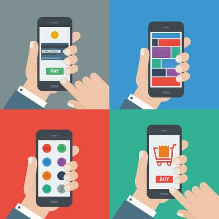 mobiel winkelen, betaling, responsieve platte ontwerp