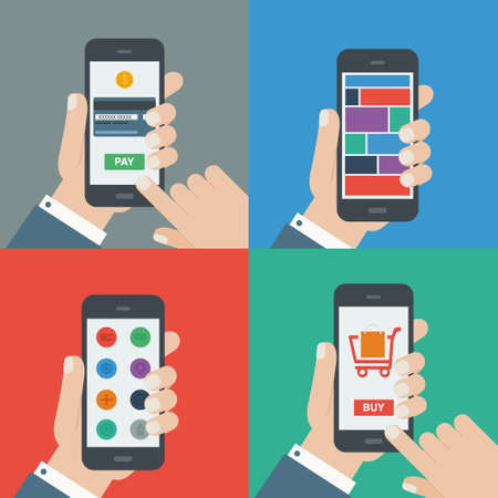 mobile shopping, payment, responsive flat design Vector