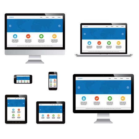 ノート パソコン、スマート フォン、タブレット、コンピューター、ディスプレイ免震応答性の高いウェブ デザイン  イラスト・ベクター素材