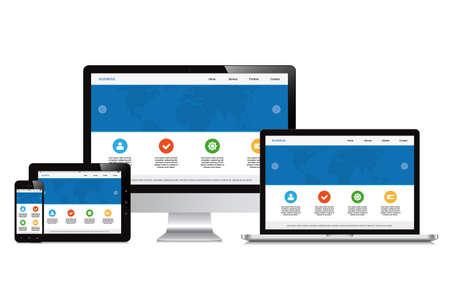 ノート パソコン、スマート フォン、タブレット、コンピューター、分離表示応答性の高いウェブ デザイン  イラスト・ベクター素材