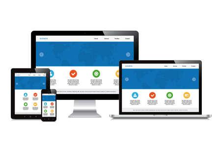 노트북, 스마트 폰, 태블릿, 컴퓨터, 고립 된 반응자인 표시