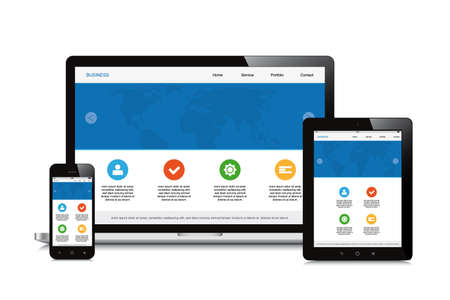 mobile, tablet and laptop responsive webdesign isolated background