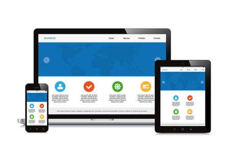 mobiel, tablet en laptop responsieve webdesign geïsoleerde achtergrond