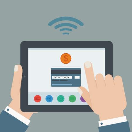 creditcard: dise�o plano tableta sosteniendo tarjeta de cr�dito a mano de pagos m�viles