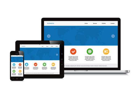 mobiel, tablet en geïsoleerde laptop reageert webdesign Stock Illustratie